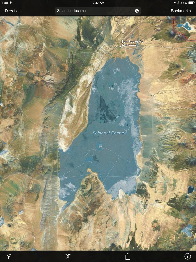 Lithium mine evaporation ponds as seen from Google Earth.