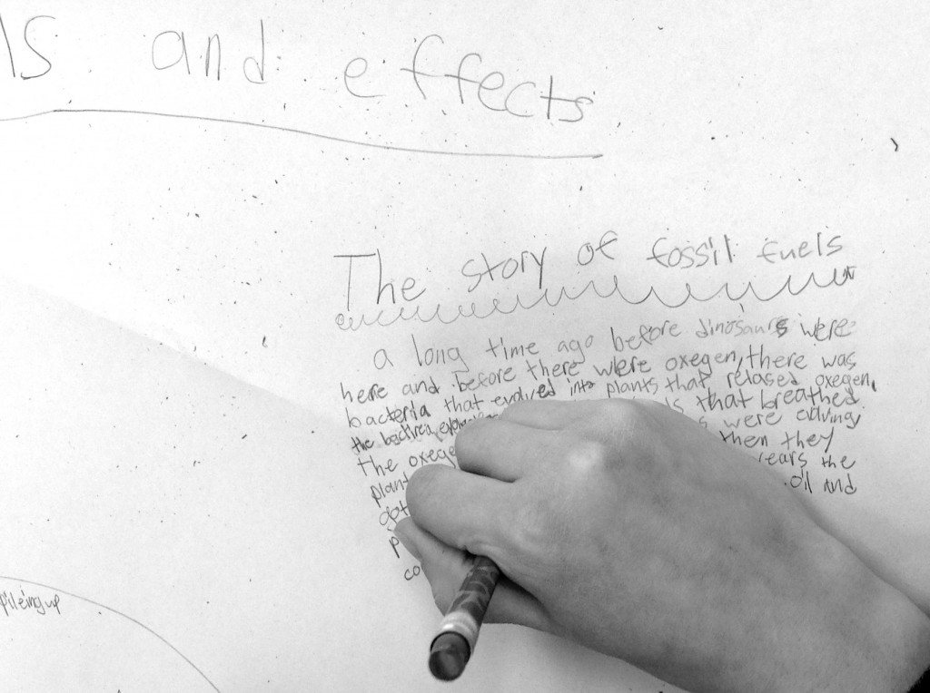 A student writing The Story of Fossil Fuels. This was an experiment to see how story creation could help kids learn scientific concepts.